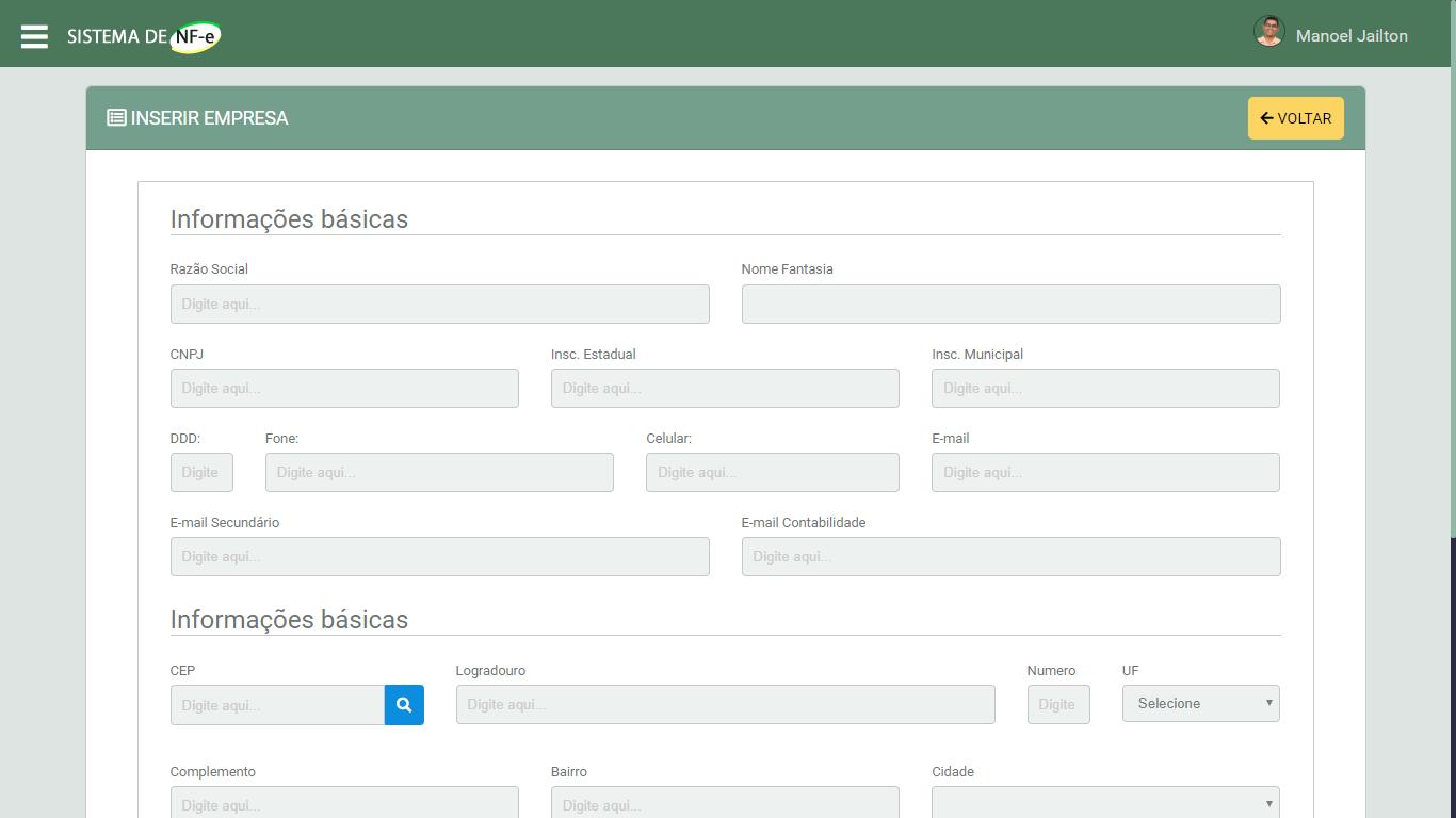 Sistema Emissor de NFe em PHP - Tela de Cadastro de Empresas