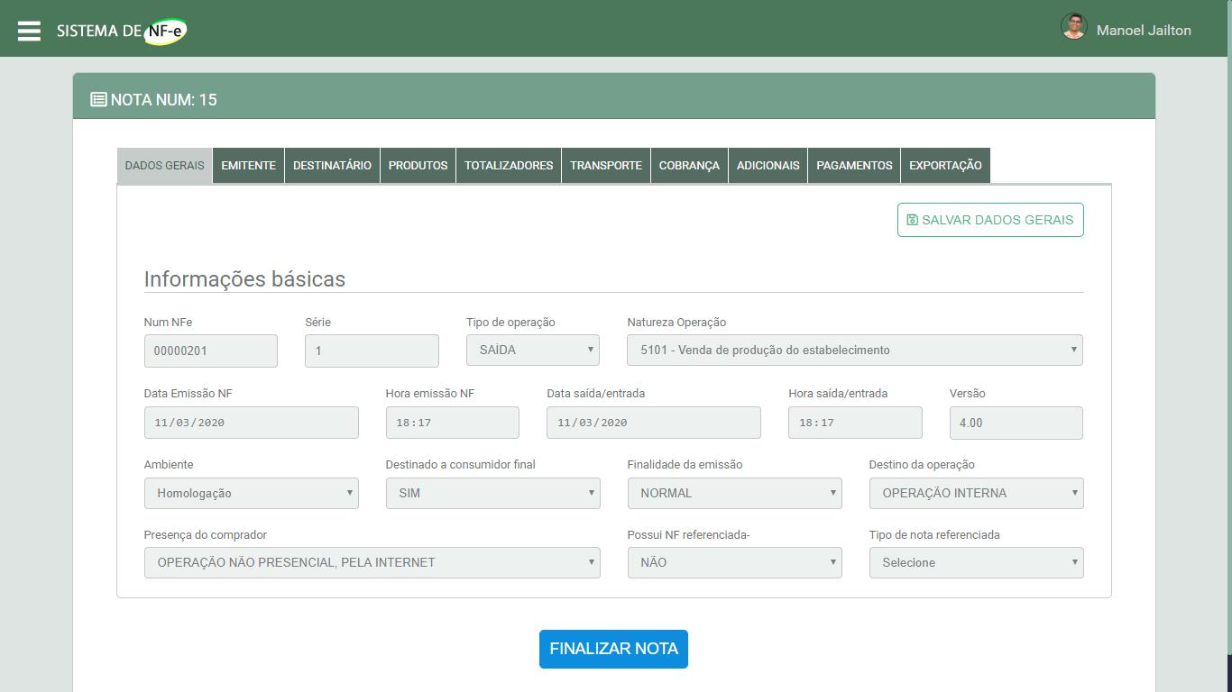 Sistema Emissor de NFe em PHP - Criar a Nota Fiscal