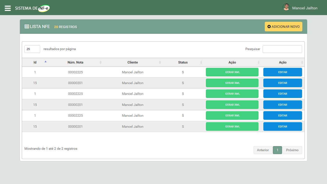 Sistema Emissor de NFe em PHP - Listar Notas Fiscais Emitidas